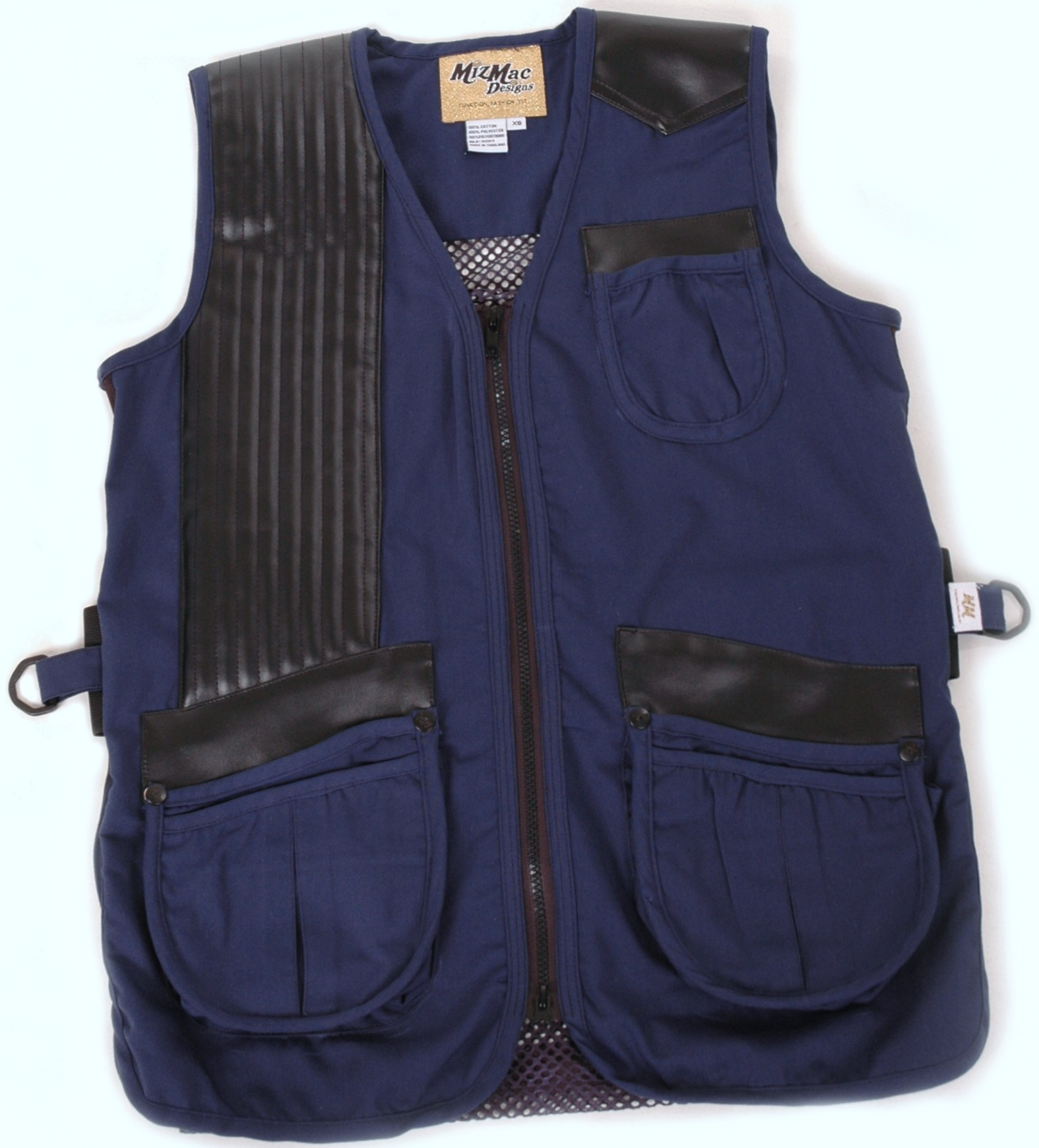 MizMac Womens Twill & Mesh Vest -- Navy (CLOSE OUT) womens shooting vest, mesh vest, leather shooting vest, leatherette vest, adjustable vest