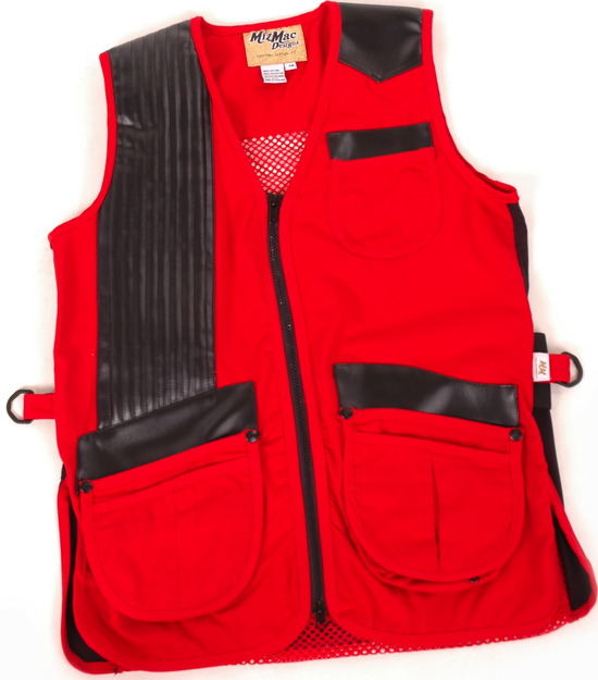 MizMac Womens Twill & Mesh Vest -- Red (CLOSE OUT) womens shooting vest, mesh vest, leather shooting vest, leatherette vest, adjustable vest