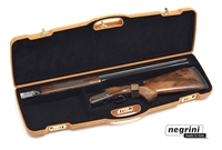 "Negrini 1651PL/4729 Series | O/U or SXS - Tobacco Brown Leather/Black - Barrel up to 31.5"", Med rib  Negrini, hard sided gun case, airline approved gun case, shotgun case, Negrini 1651PL, Negrini Sale"