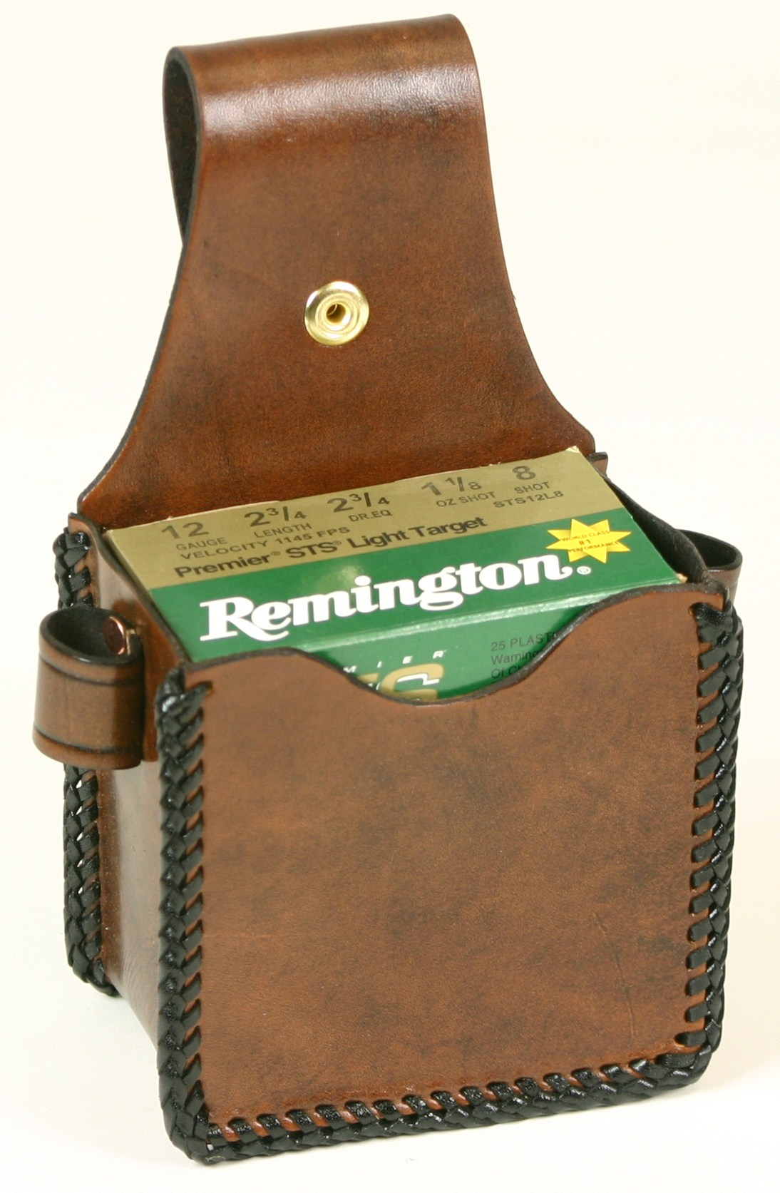 Shamrock Leathers 1-Box Carrier (snap on) Leather shotshell box holder, 1-box carrier, snap on