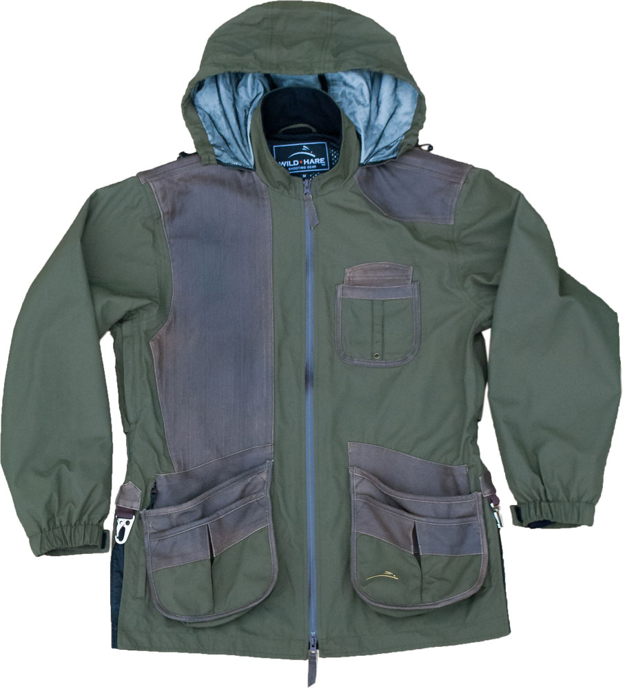 Wild Hare Hydro-Elite Shooting Jacket - Olive with Brown Distressed Leather