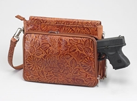 Gun Toten Mamas Tooled American Cowhide Concealed Carry Shoulder Bag